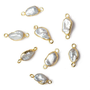 9x7-11x7mm Gold Leafed White Keshi Freshwater Pearl connector 1 piece - Beadsofcambay.com