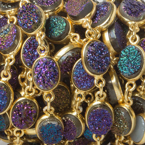 9x7mm Mystic Drusy Vermeil Bezel Chain by the foot - Beadsofcambay.com