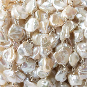 9x8mm Off White Keshi Side Drilled Pearl .925 Silver Chain by the foot 24 pearls - Beadsofcambay.com