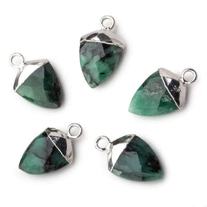 Silver Leafed Emerald faceted shield Pendant 1 focal bead 14x10mm - Beadsofcambay.com