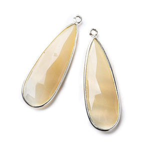 Sterling Silver Bezel Blush Cream Agate Elongated Faceted Pear Set of 2 Pendants 38x14mm - Beadsofcambay.com