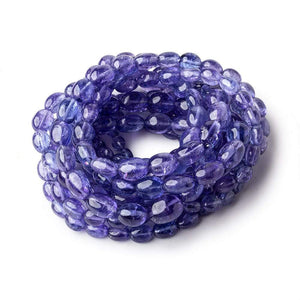 Tanzanite straight drilled plain ovals 5x4mm - 10x8mm 60 beads 18 inch GF - Beadsofcambay.com