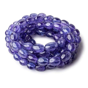 Tanzanite straight drilled plain ovals 6x5mm - 10x9mm 55 beads 18 inch GF - Beadsofcambay.com