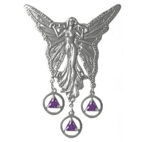 Sterling Silver, Beautiful Large Fairy with 3 Hanging Alcoholics Anonymous Birthstone Pendants, Available in all 12 Colors - Style #1009