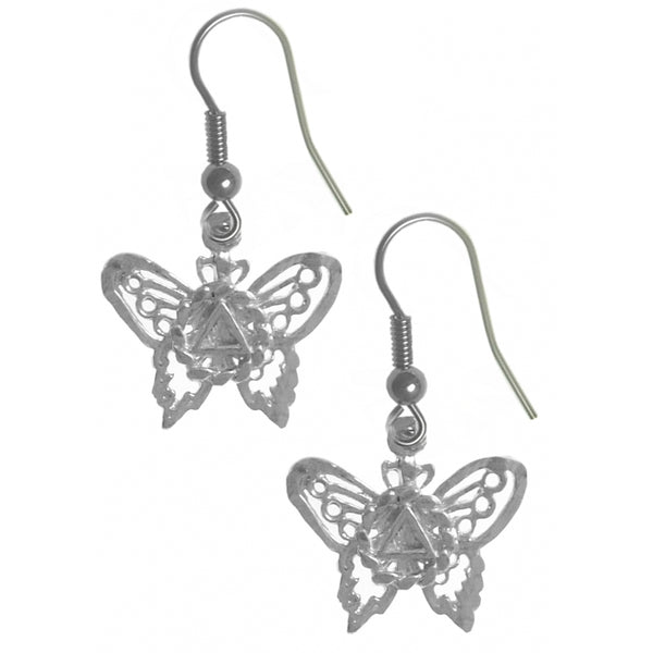 Style #1041, Sterling Silver Earrings, AA Symbol on a Small Beautiful Butterfly