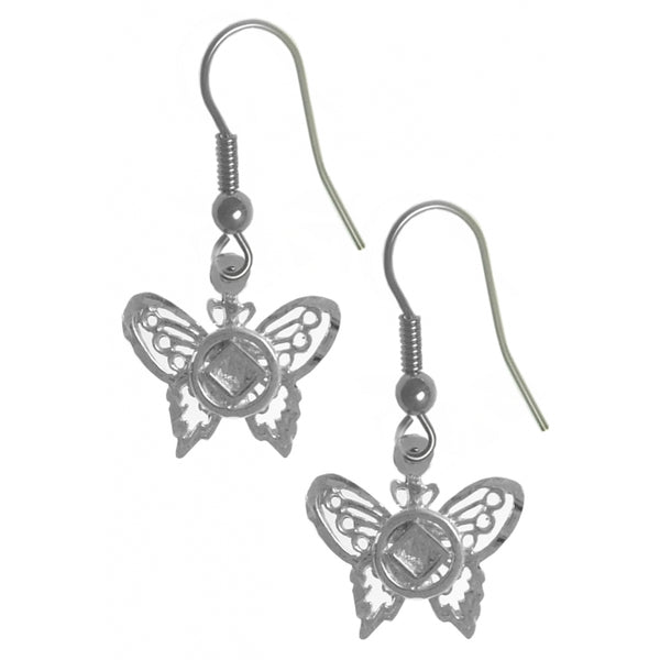 Style #1044, Sterling Silver Earrings, NA Symbol on a Small Beautiful Butterfly