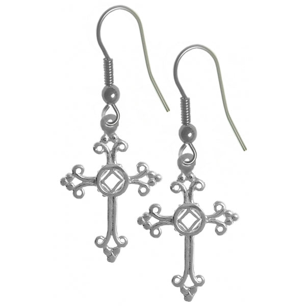 Style #1049, Sterling Silver, Cross Earrings with NA Symbol