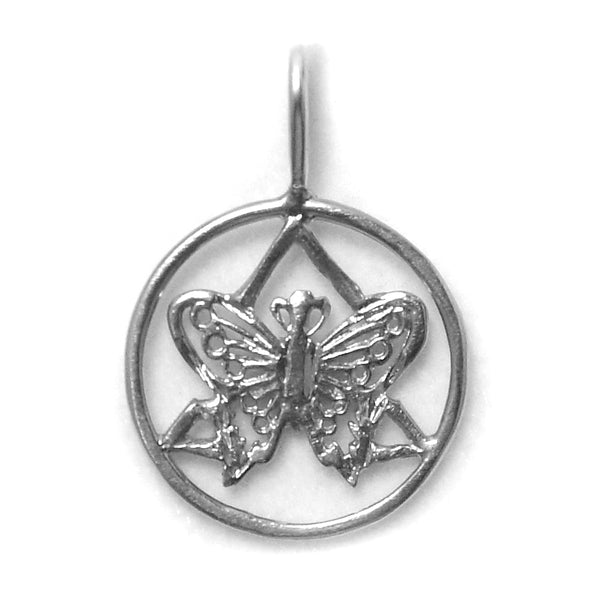 Style #1070, Sterling Silver Pendant, AA Symbol with a Small Butterfly on the inside of the Symbol