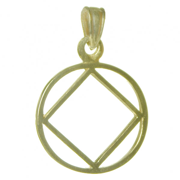 14k Gold, Narcotics Anonymous Symbol Pendant, Thick Style, Medium Size - Style #1075