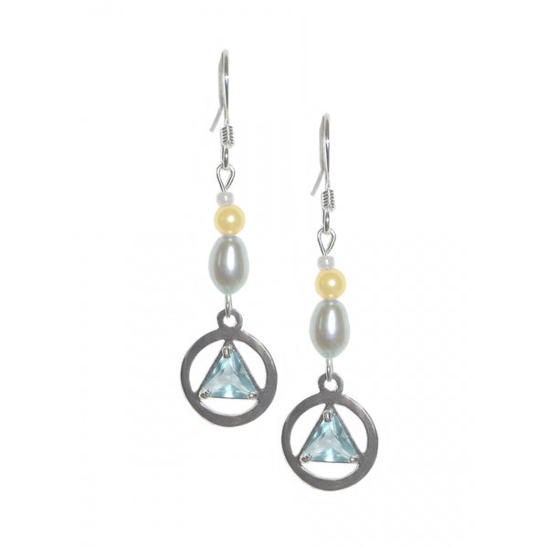 Alcoholics Anonymous Sterling Silver 6mm CZ Triangle Alcoholics Anonymous Beaded Earrings - Style #1105 A