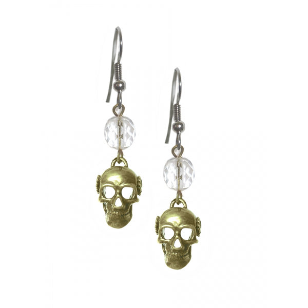 Alcoholics Anonymous Antique Brass Finish 3d Skull Beaded Earrings - Style #1114 A