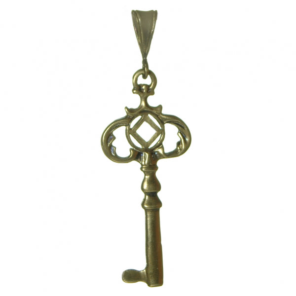 Style #1153, Brass Pendant, Two Sided Old Style Key with NA Symbol, Medium Size