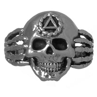 Sterling Silver, $65-$75, Alcoholics Anonymous Mens Skull Ring - Style #1187