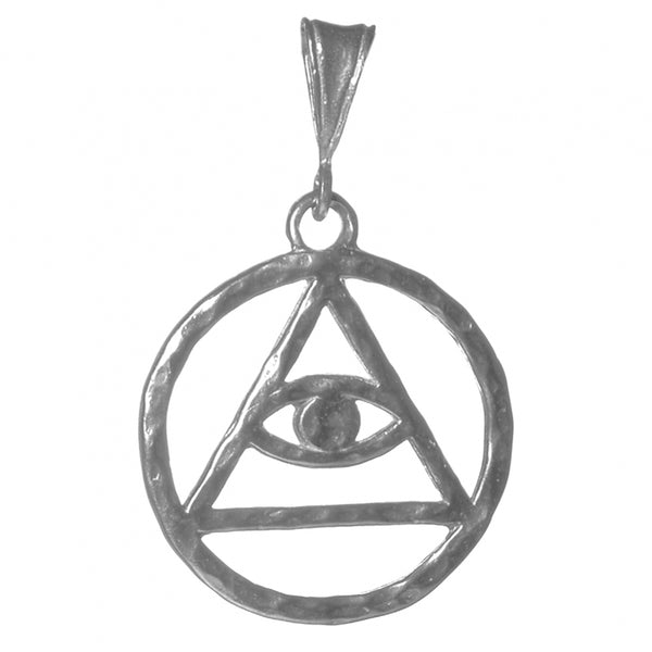 Style #1158, Large Size, Sterling Silver Pendant, AA Symbol with Mystic Eye