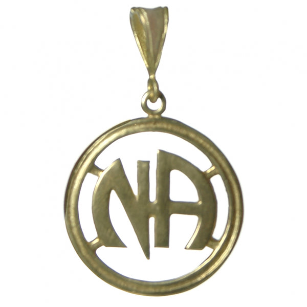 Style #1159, Large Size, Brass Pendant, NA Initials in a Heavy Style Circle