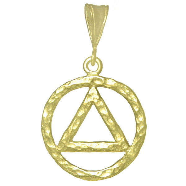 Large Size, 14k Gold Pendant, Thick Hammered Finish Alcoholics Anonymous Symbol - Style #1160