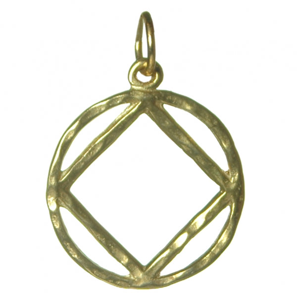 Medium Size, Brass Pendant, Narcotics Anonymous Hammered Symbol - Style #1161
