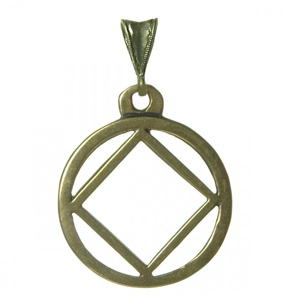 Medium Size, Brass Pendant, Narcotics Anonymous Flat Symbol - Style #1163