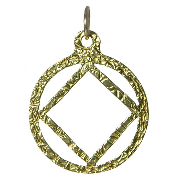 Medium Size, Brass Pendant, Narcotics Anonymous Textured Symbol - Style #1164