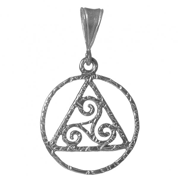 Style #1171, Medium Size, Sterling Silver, AA Textured Pendant with Celtic Symbol