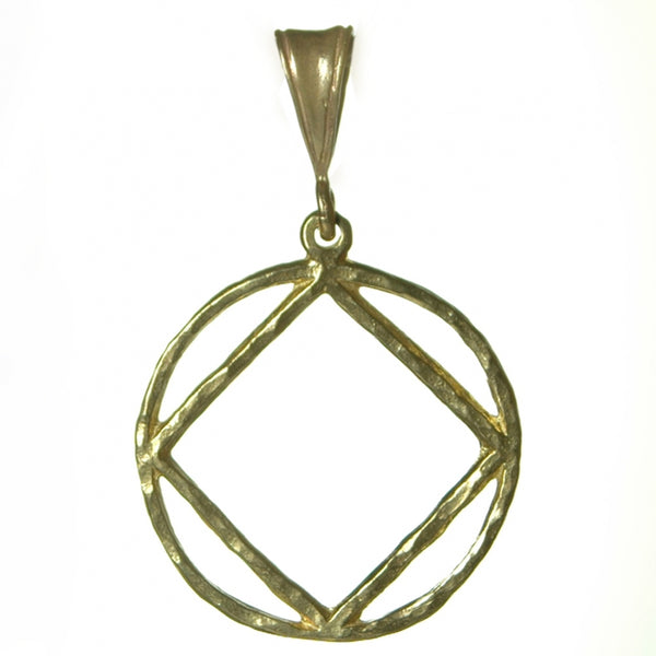 Style #1182, Large Size, Brass Pendant, NA Symbol in a Hammered  Wire Style