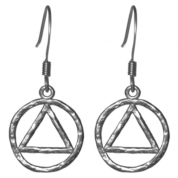Style #1190, Sterling Silver, AA Symbol Hammered Style Earrings