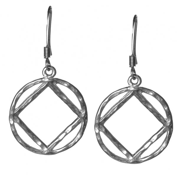 Style #1192, Sterling Silver, NA Symbol Hammered Style Earrings