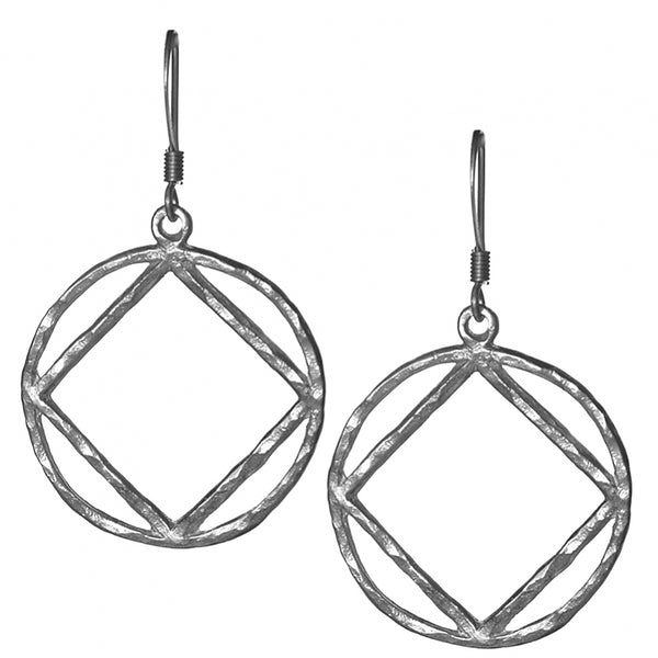 Style #1194, Sterling Silver, NA Symbol Hammered Style Earrings