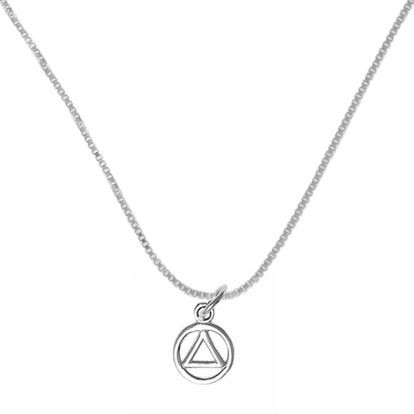 Set of Small Alcoholics Anonymous Symbol #49 Pendant wtih #213 Lt. Box Chain, Sterling, $15-$17, Chain Available in 3 Different Lengths - Style #1206