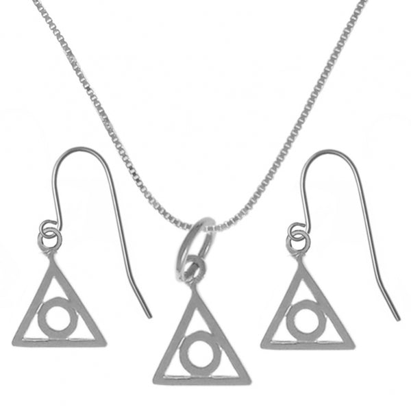 Style #1209, Set of Alanon Symbol #225 Pendant wtih #213 Lt. Box Chain and #721 Earrings, Chain Available in 3 Different Lengths