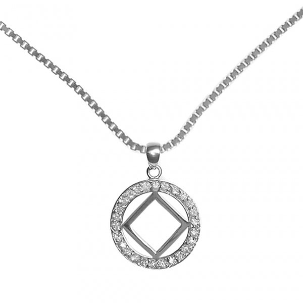 Set of Narcotics Anonymous Symbol #26Narcotics Anonymous CZ Pendant with #212 Med. Box Chain, $40-$46, Chain Available in 3 Different Lengths - Style #1211