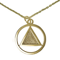 Set of Brass Alcoholics Anonymous Symbol #13 Pendant with Brass Chain, $14.50-$16.00, Chain Available in 3 Different Lengths - Style #1236