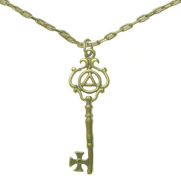 Set of Brass Alcoholics Anonymous Symbol #1022 Pendant with Brass Chain, $11-$12, Chain Available in 3 Different Lengths - Style #1248