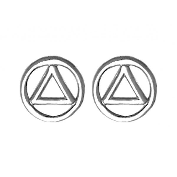 Small Sterling Silver Alcoholics Anonymous Symbol Stud Earrings - Style #129-6