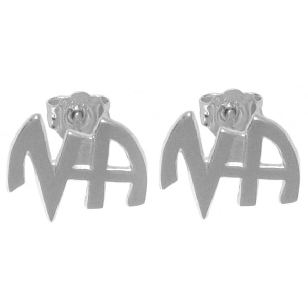 "Style #130-13, Narcotics Anonymous, Stud Earrings, Sterling Silver, Small ""NA"" Initials"