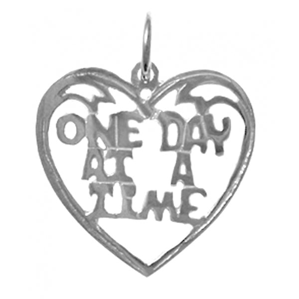 "Sterling Silver, Sayings Pendant, Heart with ""One Day At A Time"" - Style #156-15"
