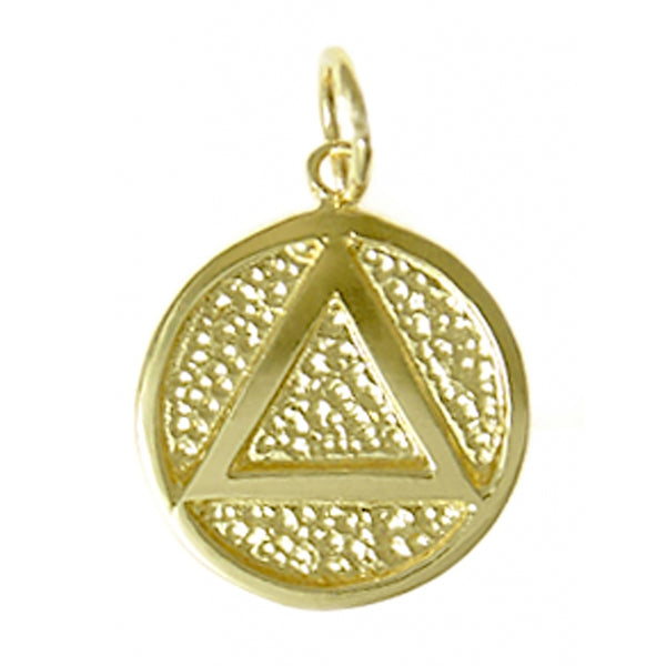 14k Gold, Solid Textured Circle Pendant, Coin Style with Triangle, Medium Size - Style #16-2