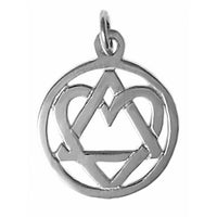 Medium Size, Sterling Silver, Alcoholics Anonymous Symbol Pendant with a Open Heart, Love & Service - Style #19-4