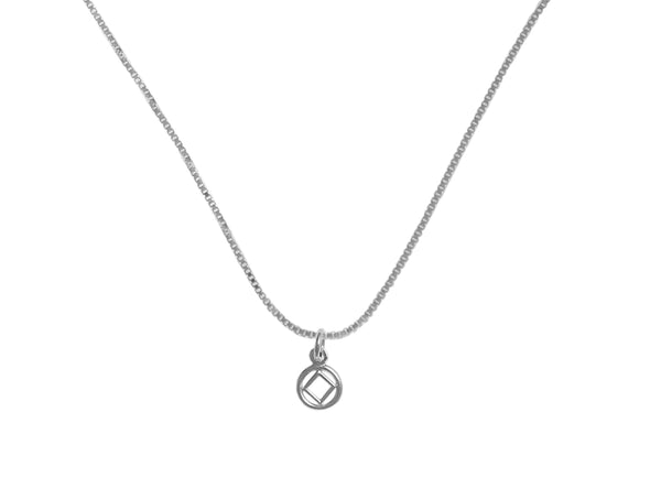 Set of Small Narcotics Anonymous Symbol #760 Pendant wtih #213 Lt. Box Chain, Sterling, $14-$16, Chain Available in 3 Different Lengths - Style #1227