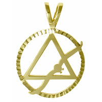 14k Gold, Alcoholics Anonymous Symbol Pendant w/Flying Seagull in a Diamond Cut Circle, Large Size - Style #22-4