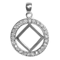 Sterling Silver Pendant, Narcotics Anonymous Symbol in a Circle of 26 CZ's, Medium Size - Style #26NA