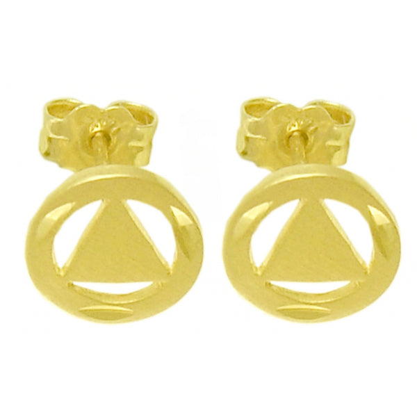 14k Gold Stud Earrings, Diamond Cut Circle with Solid Triangle - Style #281-6