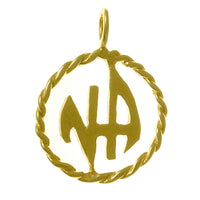Medium Size, 14k Gold Pendant, Narcotics Anonymous Initials in a Twist Wire Style Circle - Style #301-11