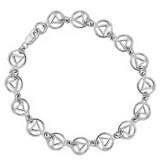 "Sterling Silver, $50-$75, Continuous Alcoholics Anonymous Symbol 7"", 8"" Bracelet or 9.5"" Anklet - Style #312-7"