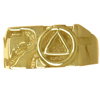 14k Gold,  Rectangular Ravine Textured Style Men's Alcoholics Anonymous Symbol Ring - Style #328-8