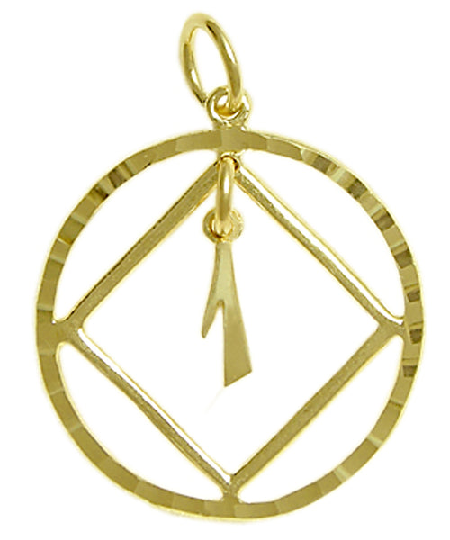 14k Gold Pendant, Narcotics Anonymous Symbol in a Diamond Cut Circle, $210-$245, Choice of #'s 1-25 in Center, Large Size - Style #362-9
