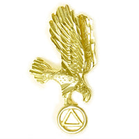 14K Gold Pendant, Eagle Holding Alcoholics Anonymous Symbol with Diamond Cut Accents - Style #363-4
