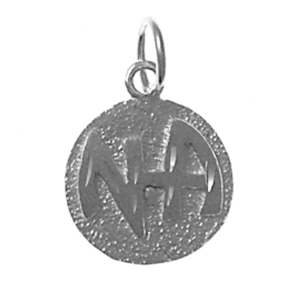 Sterling Silver Pendant, Narcotics Anonymous Initials in a Solid Textured Coin Style Circle, Medium Size - Style #37-11