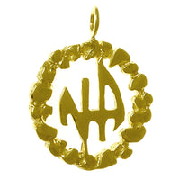 Medium Size, 14k Gold Pendant, Narcotics Anonymous Initials in a Nugget Style Circle - Style #372-11