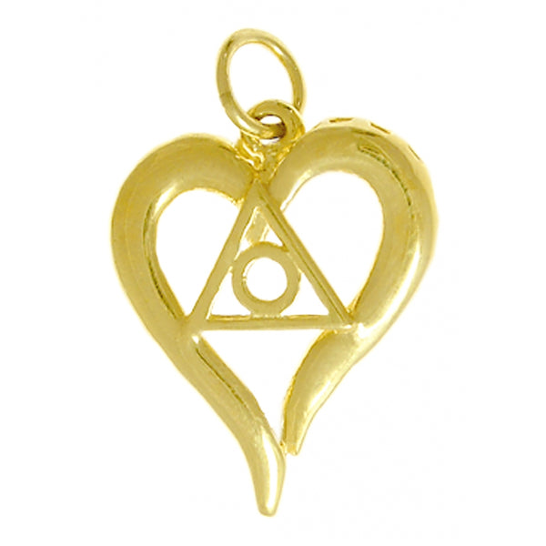 Style #396-16, 14k Gold, Heart Pendant with Family Recovery Symbol, Medium Size